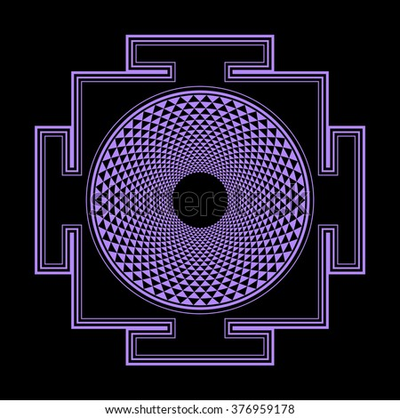 vector violet outline hinduism thousand petal Sahasrara yantra illustration diagram isolated black background  - stock vector