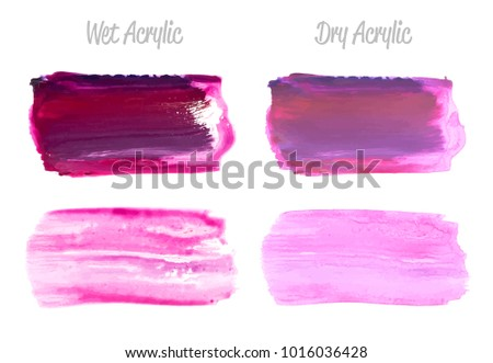 Vector violet paint smear stroke stain set. Abstract wet and dry acrylic textured art illustration. Acrylic Texture Paint Stain Illustration. Hand drawn brush strokes vector elements. Acrilyc strokes.
