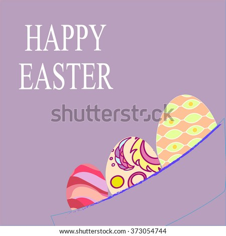Vector violet paper card with ornament easter eggs - stock vector