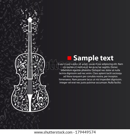 Vector violin with notes - stock vector