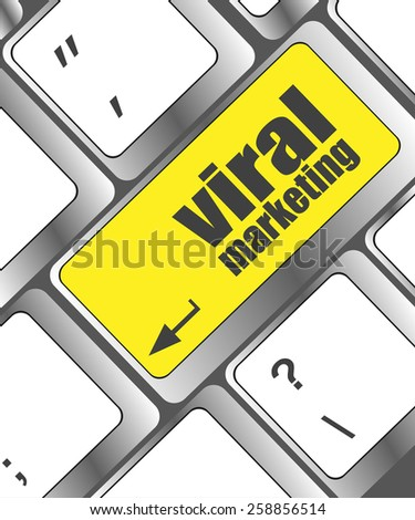 vector viral marketing word on computer keyboard key, raster - stock vector