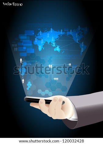 Vector virtual business network process diagram, with Hand holding the phone - stock vector