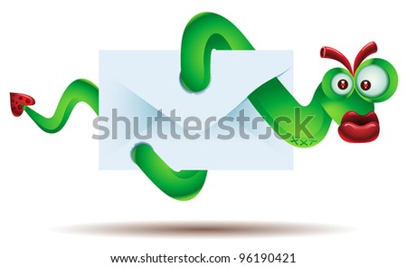 Vector virus attacking computer through email attachments - stock vector