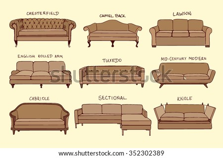 Vector visual guide of sofa design styles. Hand drawn sofa set made in linear style