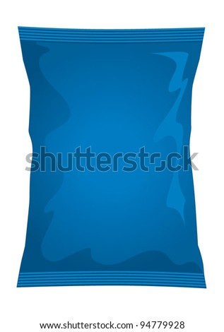 Vector visual of blue foil / plastic / paper bag / packet / packaging for cheese & onion or salt & vinegar flavour potato crisps / potato chips or chocolate / candy / sweets - stock vector