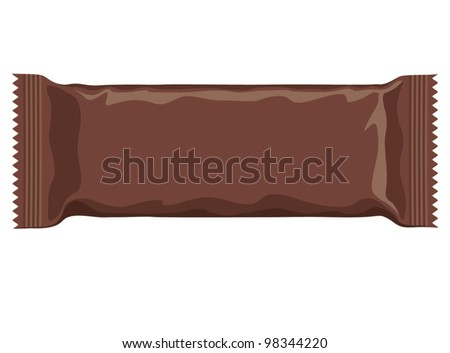 Vector visual of dark brown flow wrap plastic foil packet, packaging or wrapper for biscuit, wafer, crackers, sweets, chocolate bar, candy bar, snacks etc - stock vector