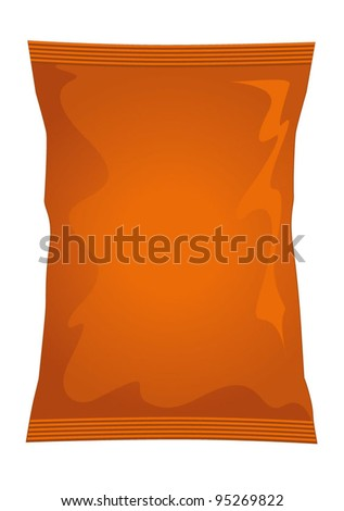 Vector visual of orange brown foil / plastic / paper bag / packet / packaging for beef, chicken or meat flavour potato crisps / potato chips or chocolate / candy / sweets