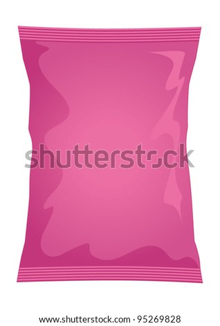 Vector visual of pink foil / plastic / paper bag / packet / packaging for bacon or prawn coctail flavour potato crisps / potato chips or chocolate / candy / sweets - stock vector