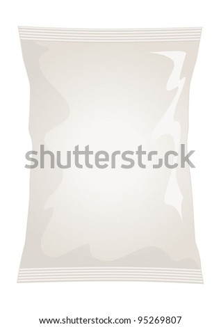Vector visual of white / cream foil / plastic / paper bag / packet / packaging for natural, ready salted flavour potato crisps / potato chips or chocolate / candy / sweets - stock vector