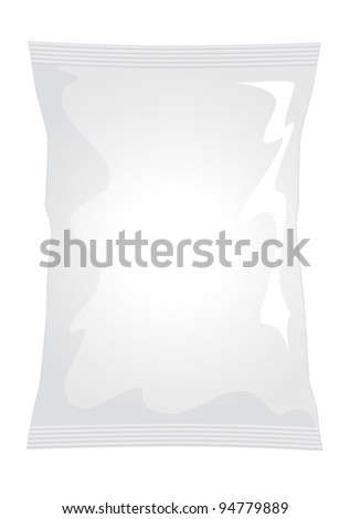 Vector visual of white foil / plastic / paper bag / packet / packaging for plain / ready salted potato crisps / potato chips or chocolate / candy / sweets