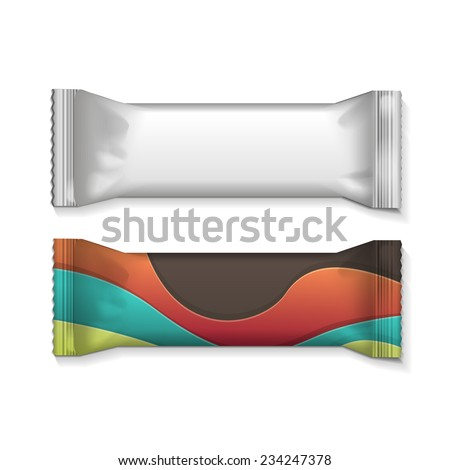 Vector visual of white or clear plain flow wrap plastic foil packet, packaging or wrapper for biscuit, wafer, crackers, sweets, chocolate bar, candy bar, snacks etc - stock vector