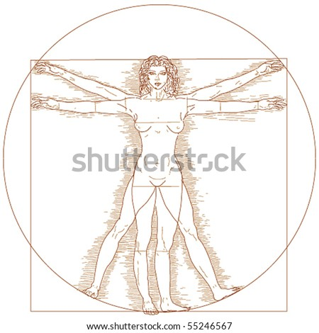 Vector Vitruvian woman - stock vector