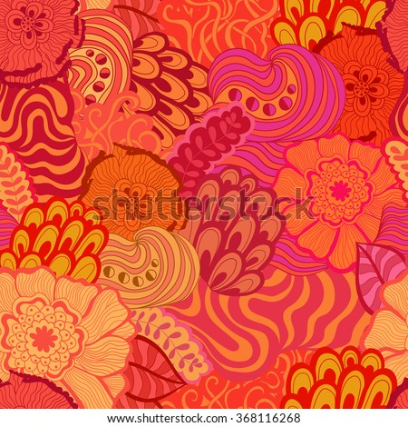 Vector vivid seamless abstract hand-drawn pattern with plants and flowers. Wave patterns seamlessly tiling. Hand drawn seamless wave background