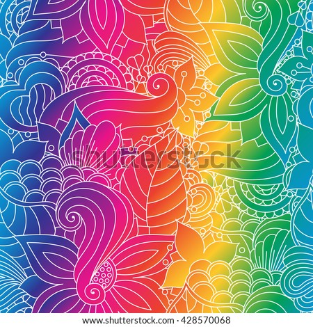 Vector vivid seamless abstract hand drawn pattern with plants. Wave patterns seamlessly tiling. Hand drawn seamless floral background. Rainbow backdrop. Doodle style. Zentangle style.