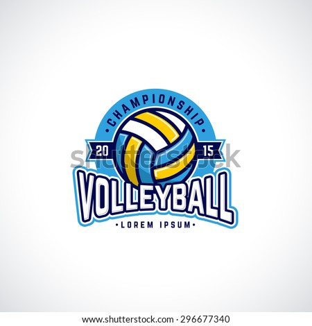 Vector volleyball championship logo with ball. Sport badge for tournament or championship. - stock vector