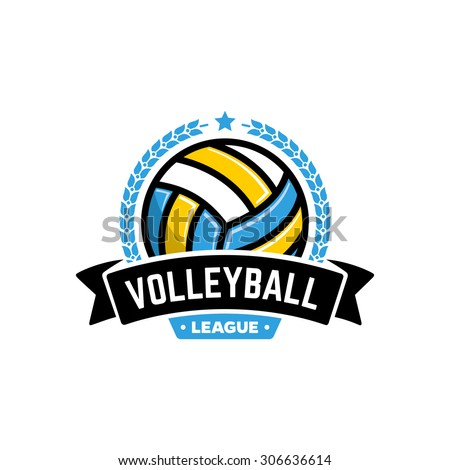 Vector volleyball league logo with ball. Sport badge for tournament championship or league. - stock vector