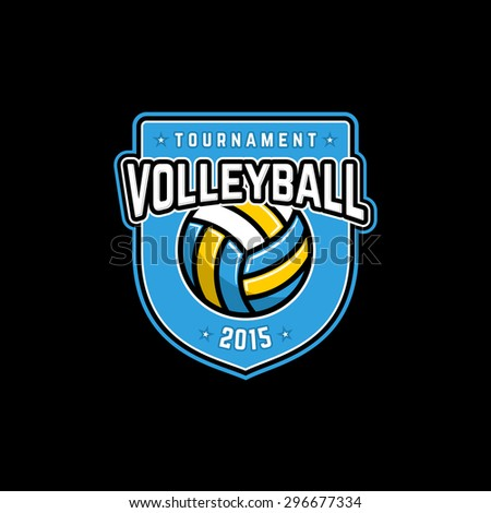 Vector volleyball tournament logo with ball. Sport badge for tournament or championship. - stock vector