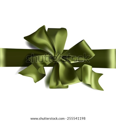 Vector volume green bow for design - stock vector