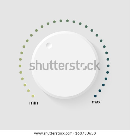 Vector volume music control with a scale from low to high, volume knob, for websites  - stock vector