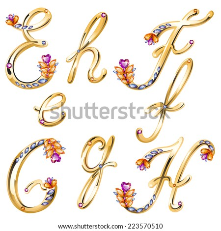 Vector volume shiny bronze alphabet with floral details from diamonds and gems, letters E,F,G,H - stock vector