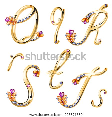 Vector volume shiny bronze alphabet with floral details from diamonds and gems, letters Q,R,S,T - stock vector