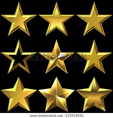 vector volume shiny gold five-pointed stars