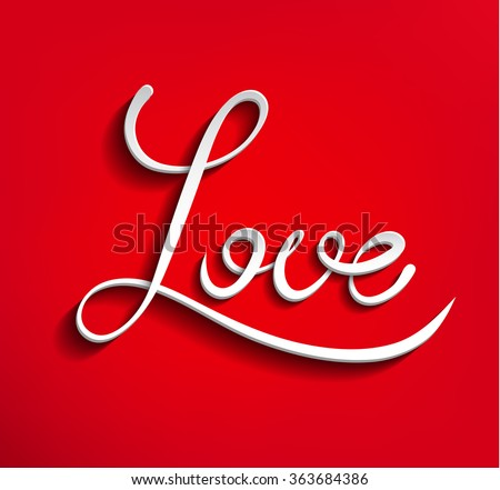 Vector Volumetric Whiteigraphic Word Love D Letters On Red Background