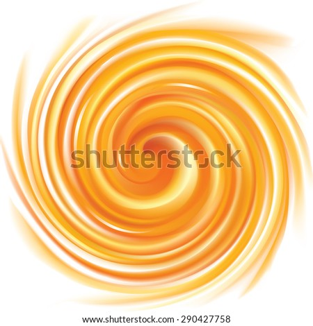 Vector vortex ripple backdrop with space for text. Beautiful curl fluid surface vivid hot terracotta color. Circle mix of pure fresh sweet carrot, apricot and lemon dessert syrup  - stock vector