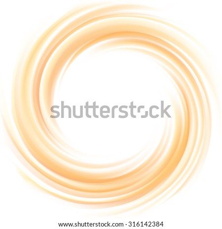 Vector vortex ripple backdrop with space for text. Beautiful curvy fluid surface gentle terracotta color. Circle soft mix of pure fresh sweet carrot, melon, pumpkin, apricot and lemon dessert syrup - stock vector