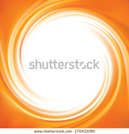 Vector vortex ripple backdrop with space for text in glowing white center. Curl fluid surface vivid hot terracotta color. Circular mix of sweet carrot, apricot and lemon dessert fruit syrup  - stock vector