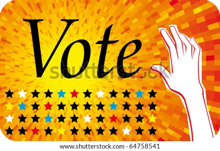 Vector Vote orange background with stars and raised hand - stock vector
