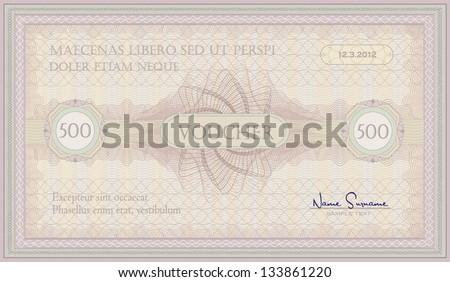 vector voucher pink green guillotine certificate template - stock vector