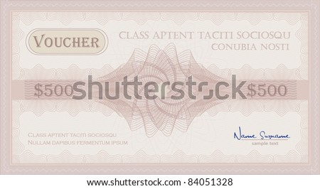 vector Voucher pink rose Guilloche coupon certificate template security spirograph - stock vector
