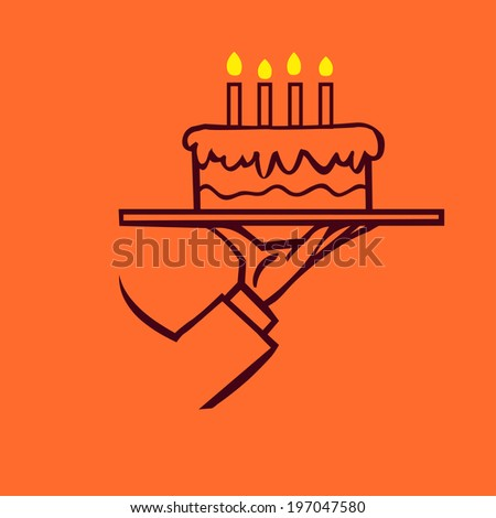 vector waiter's hand holding a tray with happy birthday cake and candles isolated  - stock vector