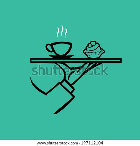 vector waiter's hand with tray and coffee cup - stock vector