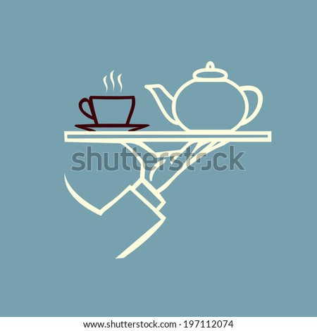vector waiter's hand with tray and tea or coffee and teapot - stock vector