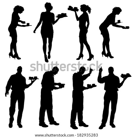 Vector Waiter Silhouette On A White Background