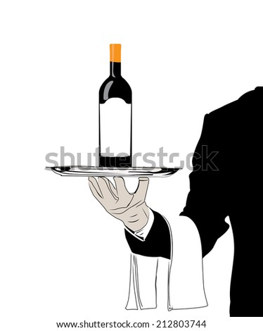 vector waiter with wine - stock vector