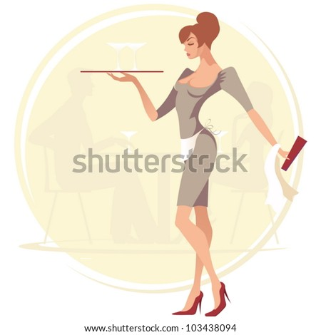 Vector waitress at cafe background. - stock vector