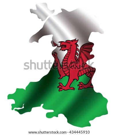 Vector Wales flag blowing in the wind in Wales map shape. Background texture.