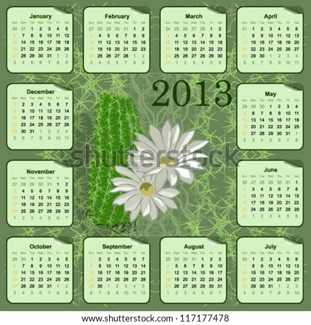 vector wall calendar for 2013 with flowers - stock vector