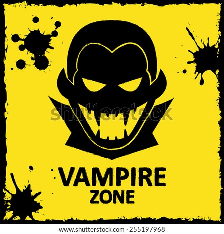 Vector wall graffiti about vampire. Yellow color. Format eps 10 - stock vector