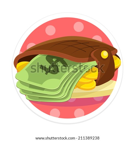 Vector Wallet and Money Flat Round Icon - stock vector