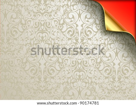 Vector wallpaper design with folded golden corner. Under the grayish silver flourishes can be seen a red background. Design can be used for various Christmas backgrounds. - stock vector