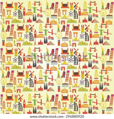 Vector Wallpaper, travel background , vacation, famous places - stock vector