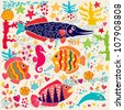 Vector wallpaper with fish and marine life - stock vector