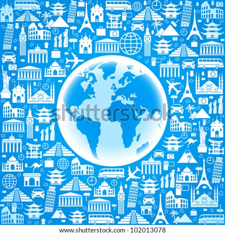 vector Wallpapers or background travel, vacation, famous places - stock vector