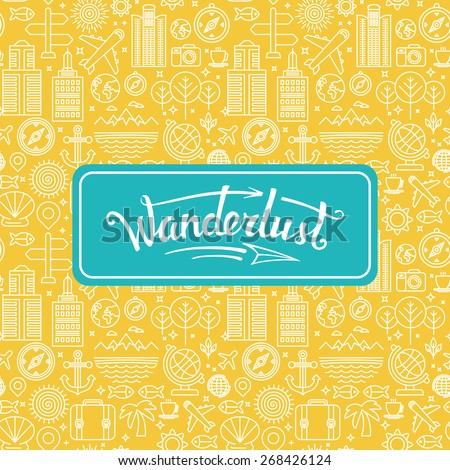 Vector wanderlust logo - travel concept - hand-lettering design element on bright background with linear icons - stock vector