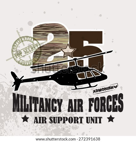 Vector War Theme Background / Militancy Air Forces for ( T-shirt, Poster, Banner, backdrops design )  - stock vector