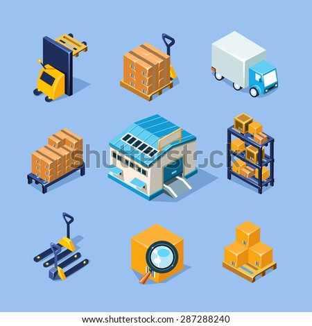Vector warehouse equipment icon set - stock vector